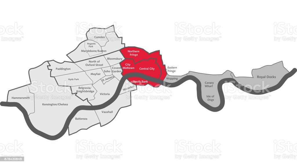 London City Centre Map.London City Centre Map With Area Labels Stock Illustration