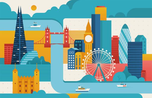 ilustrações de stock, clip art, desenhos animados e ícones de london city illustration. - londres