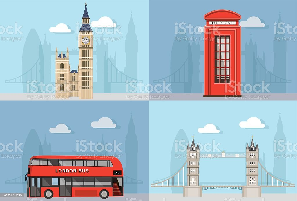London City Landmarks with city silhouette vector art illustration