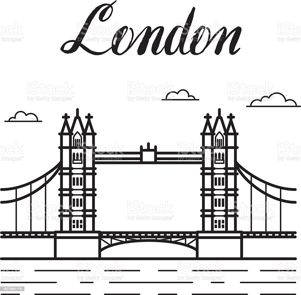 london city line art tower bridge building illustration