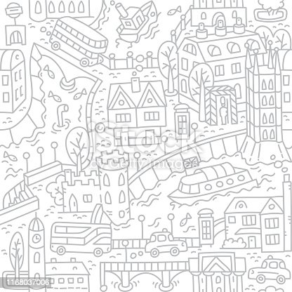 London. Seamless vector background pattern with river and streets, old houses and bridges, buses and cabs, taxi, roads and trees