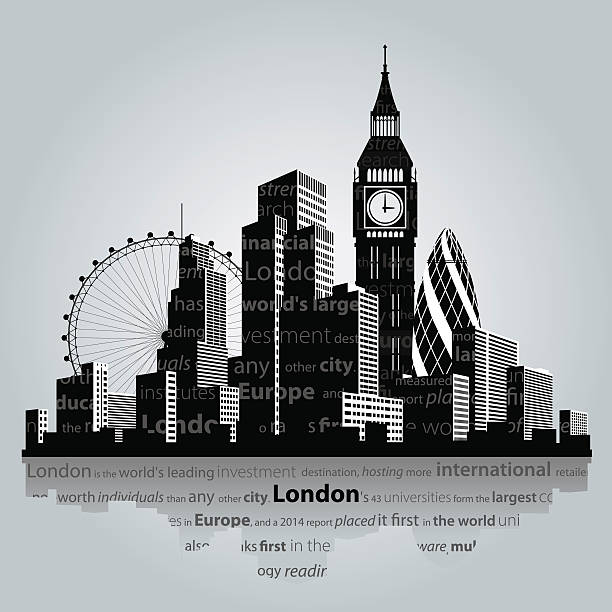London city silhouette. Vector illustration. London city silhouette. london stock illustrations