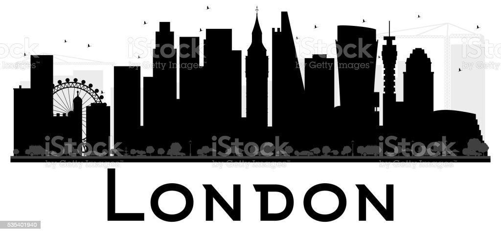 London City Skyline Black And White Silhouette Royalty Free