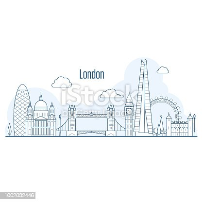 London city skyline - cityscape with landmarks in liner style