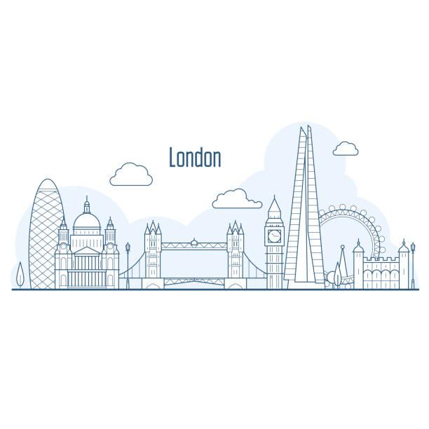 ilustrações de stock, clip art, desenhos animados e ícones de london city skyline - cityscape with landmarks in liner style - londres