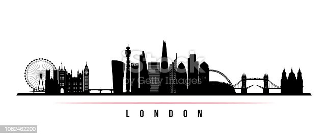 London city skyline horizontal banner. Black and white silhouette of London city. Vector template for your design.