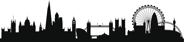London city skyline silhouette background London city skyline silhouette background, vector illustration Full editable EPS 10. File contains gradients and transparency. london stock illustrations