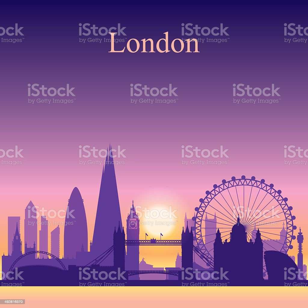 London city skyline silhouette on sunset background, vector...