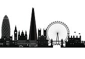 London city skyline, silhouette, vector illustration. Isolated