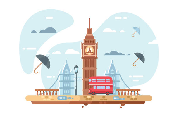 London city skyline London city skyline vector illustration. Famous places of interest such as Big Ben tower and british double decker bus flat style concept. Clouds and umbrellas on background london stock illustrations