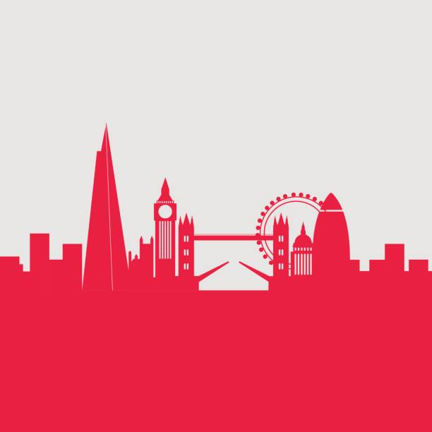 stockillustraties, clipart, cartoons en iconen met london city skyline - shard london bridge
