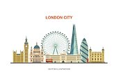 Vector illustration of most famous London attractions in trendy flat style. Isolated on white background.