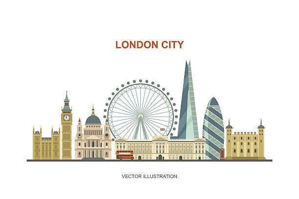 London city skyline. Vector illustration of most famous London attractions in trendy flat style. Isolated on white background. london stock illustrations