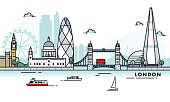 London, England city illustration. Abstract illustration in a line art, iconographic style.