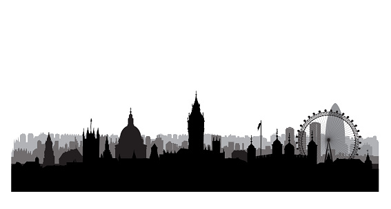 London city skyline with Westminster palace and famous landmarks