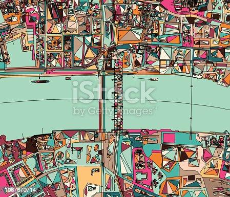 ilustration of London city structure.near Blackfriars bridge.Map data from© OpenStreetMap contributors.