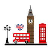 London city. Vector illustration with London symbols. Eps 10