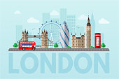 London cityscape blue flat vector illustration. Great Britain tourist attractions cliparts. World famous UK architectural landmarks. Big ben, London Eye, double decker bus. England sightseeing tour