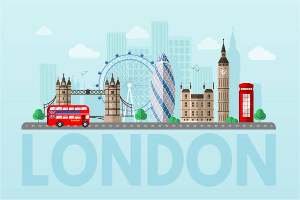 London cityscape flat vector color illustration London cityscape blue flat vector illustration. Great Britain tourist attractions cliparts. World famous UK architectural landmarks. Big ben, London Eye, double decker bus. England sightseeing tour london stock illustrations