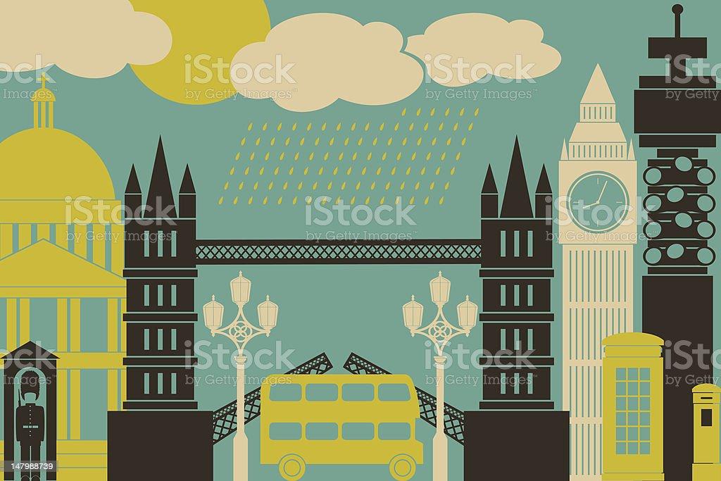 London Cityscape vector art illustration
