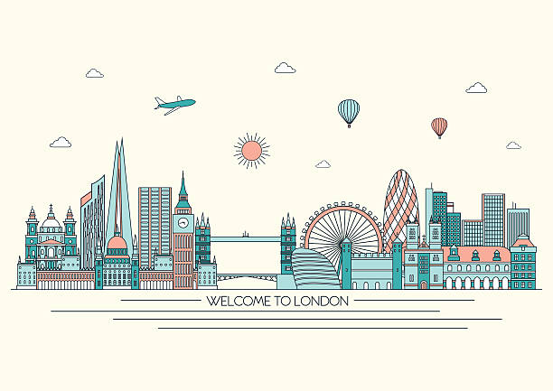London detailed skyline. Vector background. line illustration. Line art style London detailed skyline. Vector background. line illustration. Line art style loon bird stock illustrations
