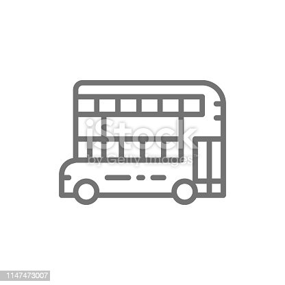 Vector London double-decker bus, traditional public transport line icon. Symbol and sign illustration design. Isolated on white background