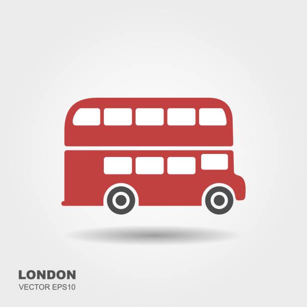 london-flache rote doppeldecker-bus - tour bus stock-grafiken, -clipart, -cartoons und -symbole