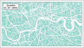 London England City Map in Retro Style. Outline Map. Vector Illustration.