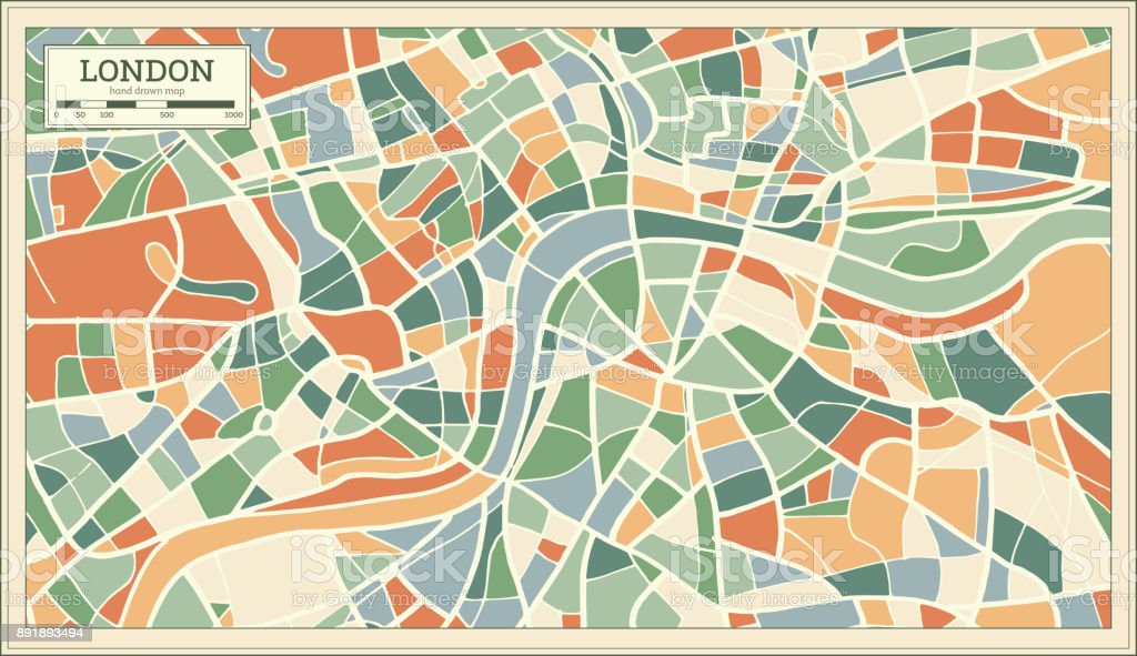 Download Map London.London England Map In Abstract Retro Style Stock Illustration