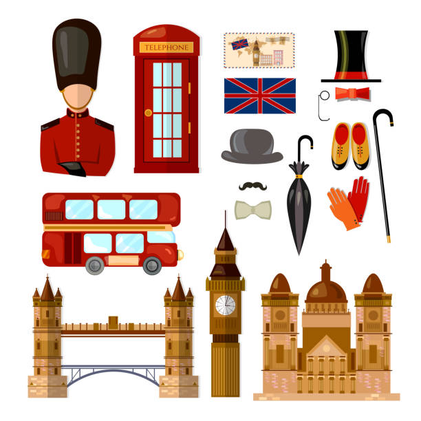 London England travel collection. Welcome to the UK United Kingdom elements. Travel to London set vector art illustration