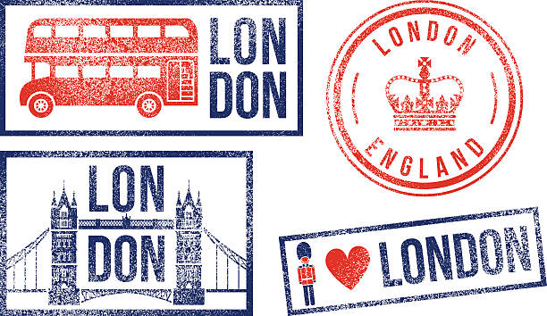 London England travel rubber stamps vector art illustration