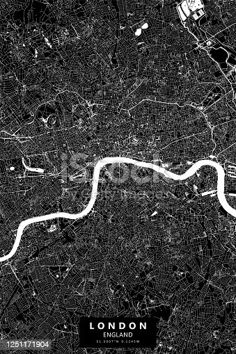 Poster Style Topographic / Road map of London, England. Original map data is open data via © OpenStreetMap contributors
