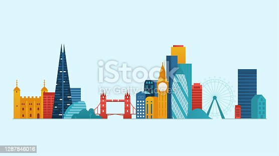 London Famous places and landmarks. Vector illustration.