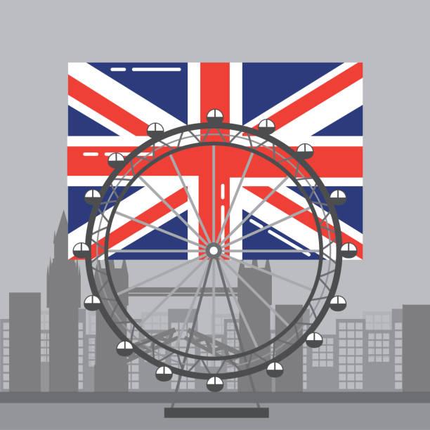londoner flagge britischen riesenrad erholung wahrzeichen und gebäude - blackpool stock-grafiken, -clipart, -cartoons und -symbole