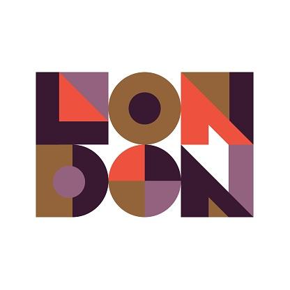 London geometric design colorful isolated inscription