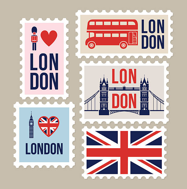 London Great Britain mail travel stamps vector art illustration
