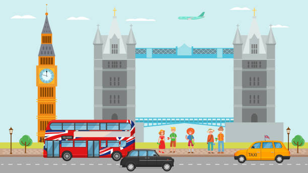 London Great Britain tourism travel concept and people tourists vector illustration. Landmarks and symbols of London Tower bridge, Big Ben, double decker red bus, cab. vector art illustration