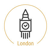 London, Great Britain Vector Line Icon with Gold Circle Isolated on White. London Landmark - Emblem - Print - Label - Symbol. Big Ben Tower Pictogram. World Cities Collection.