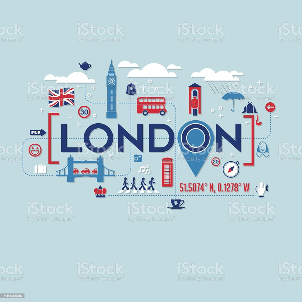 London icons and typography design for cards, t-shirts, posters - ilustración de arte vectorial