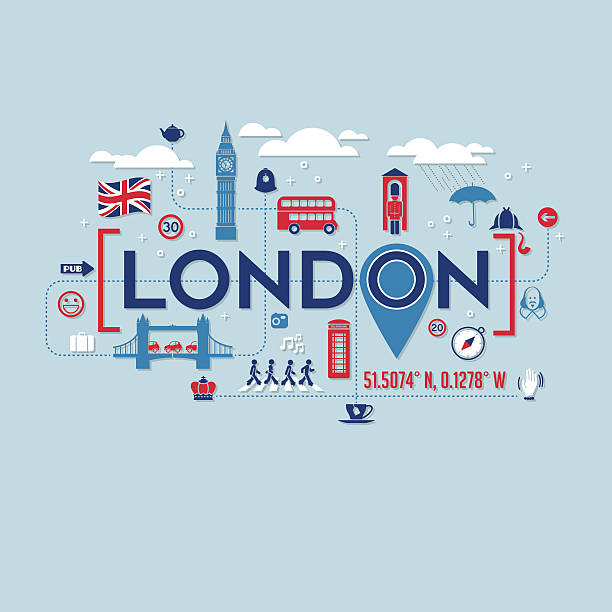 london icons and typography design for cards, t-shirts, posters - イギリス旅行点のイラスト素材/クリップアート素材/マンガ素材/アイコン素材