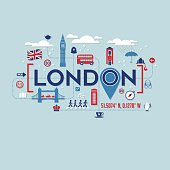 London icons and typography design for cards, t-shirts, posters