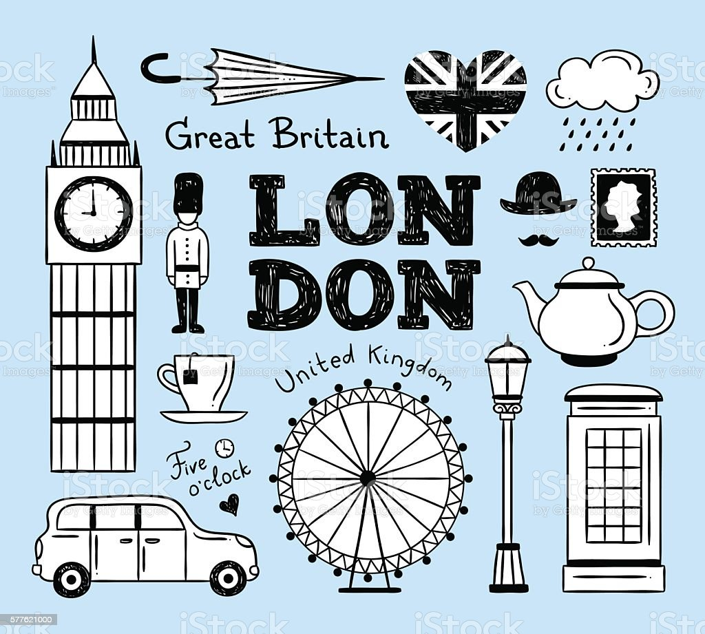 london icons hand drawn vector set great britain illustrations stock