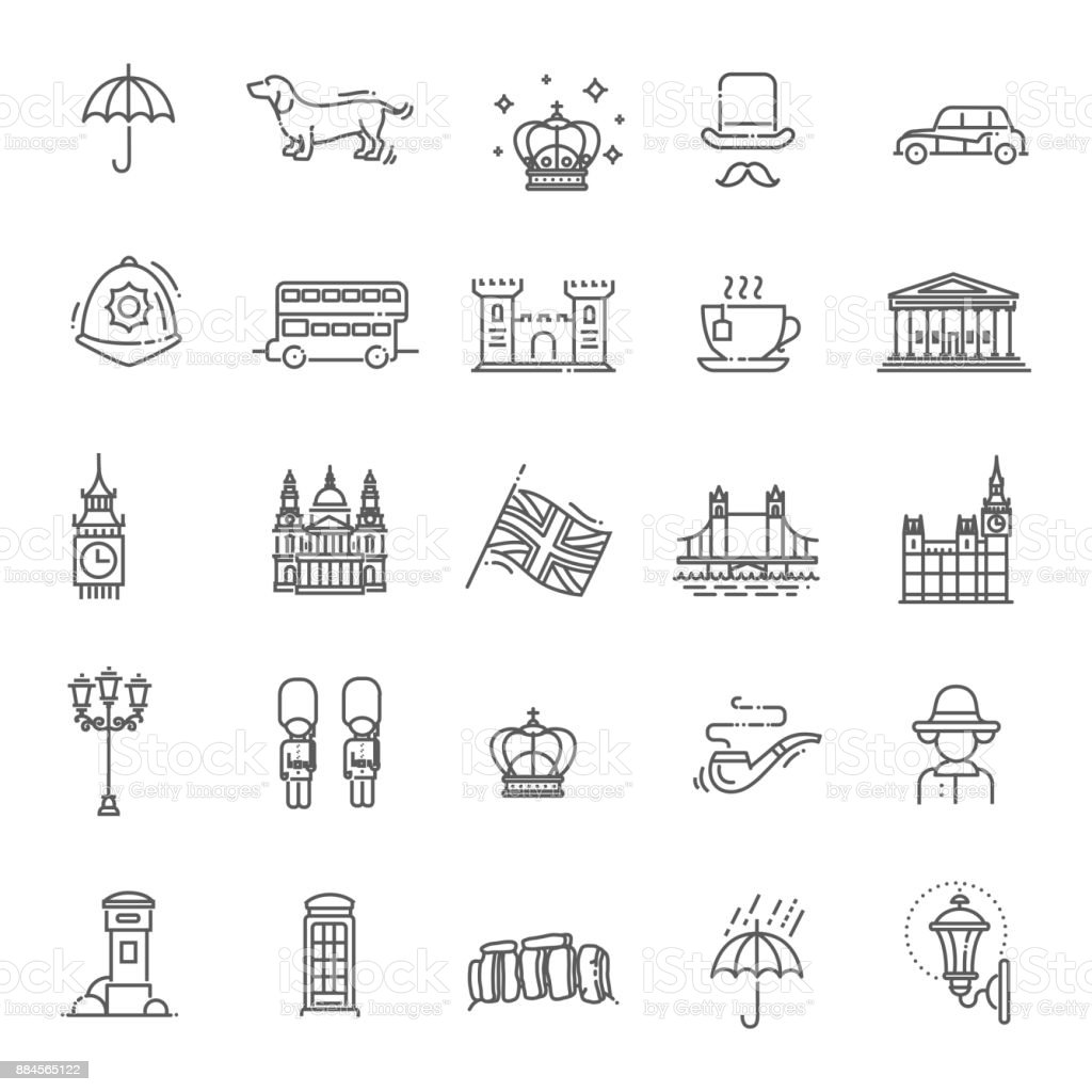 London icons set. England, thin line design