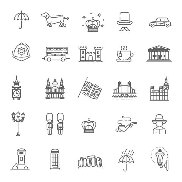 london icons set. england, thin line design - union jack flag stock illustrations, clip art, cartoons, & icons