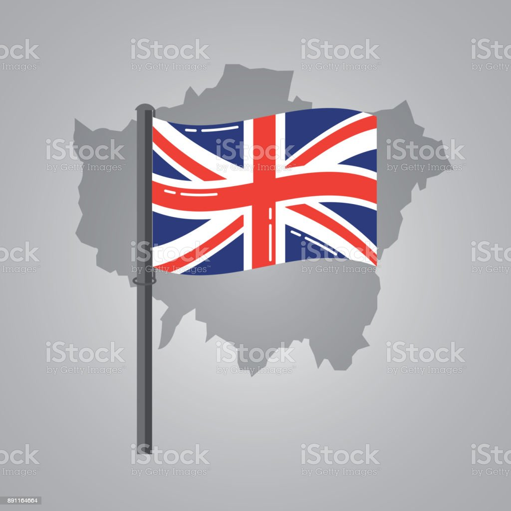 london map and great britain flag on a silver metallic pole vector art illustration