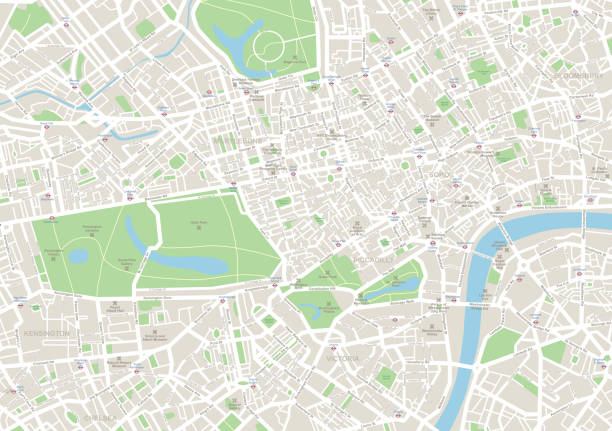 London Map Highly detailed vector map of London - illustration london stock illustrations