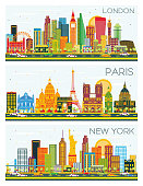London, Paris, New York Skyline with Color Buildings and Blue Sky.