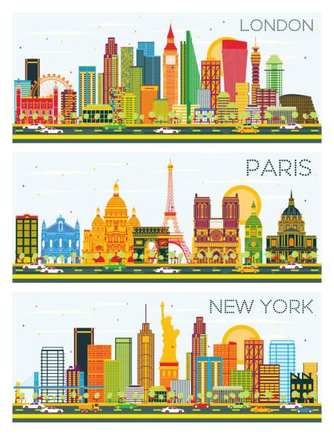 London Paris New York Skyline With Color Buildings And Blue Sky Vector Art