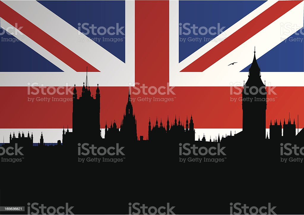 London parliament silhouette with British flag royalty-free stock vector art