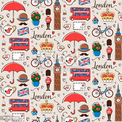 Seamless pattern with London symbols.